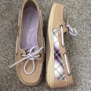 Khaki and purple boat shoes